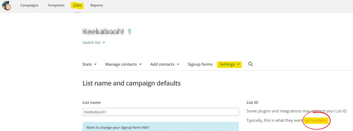 how to get your mailchimp list id